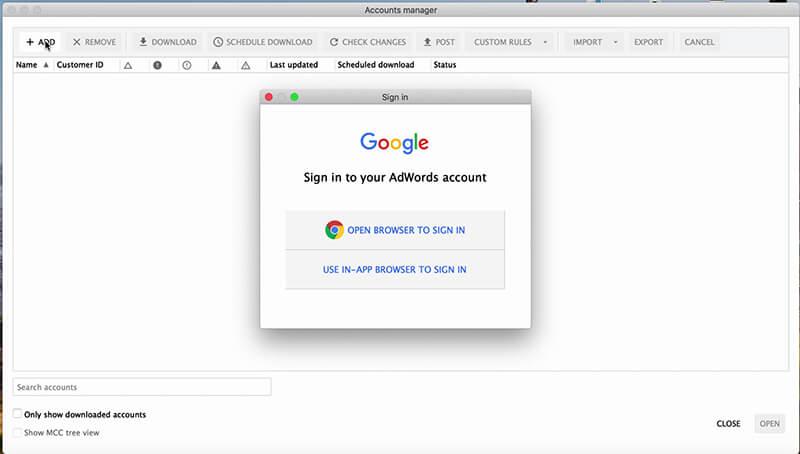 اجرای Google Adwords Editor