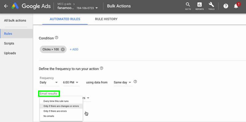 مدیریت Rule در گوگل ادز