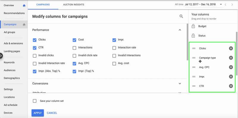 فیلترها و تنظیم ستون در گوگل ادز