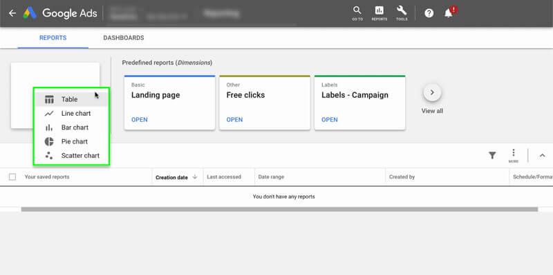 بخش Reports گوگل ادز