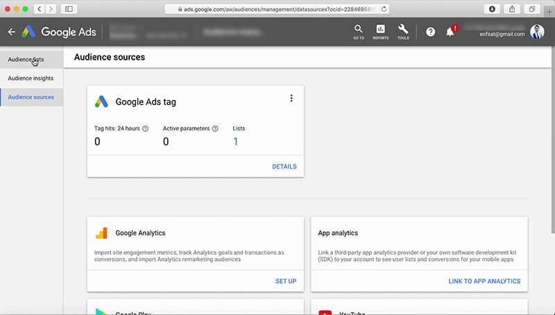 تگ گوگل ادز برای دسترسی به منبع مخاطبین