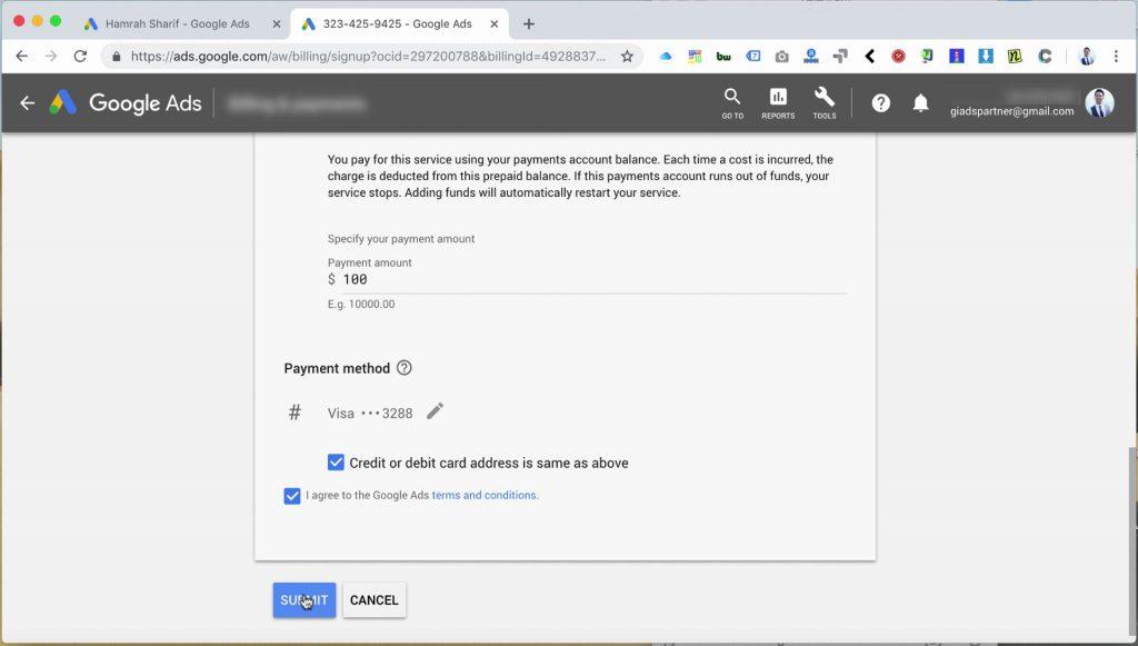 تنظیمات پرداخت در گوگل ادز
