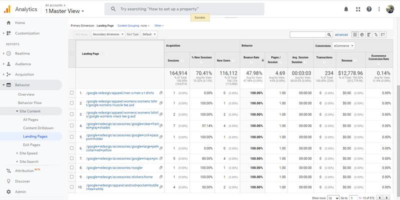 مشاهده گزارشات بانس ریت در Landing Pages