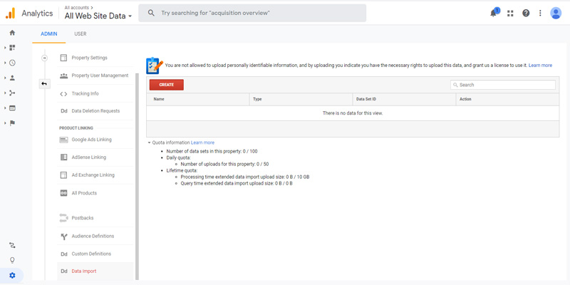 چگونگی ایجاد Data Import در گوگل آنالیتیکس