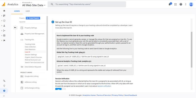 ایجاد آیدی کاربر در گوگل آنالیتیکس