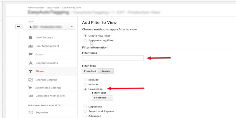 ایجاد فیلتر Lowercase در آنالیتیکس