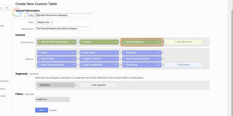 ایجاد جداول سفارشی جدید در آنالیتیکس
