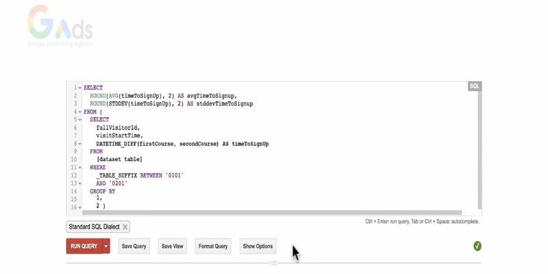 مقدار داده های ثبت نام در بیگ کوئری