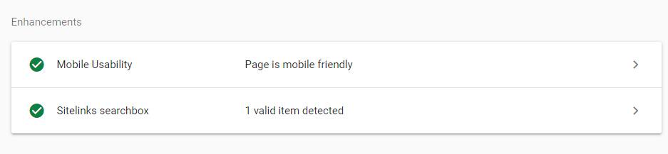 بخش Enhancement در URL Inspection گوگل سرچ کنسول