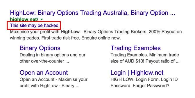 مثالی از هک شدن سایت در نتایج گوگل
