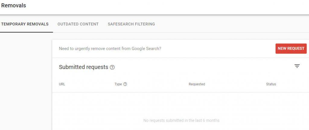 گزارش Removals در گوگل سرچ کنسول
